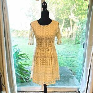 Xhilaration Beige/Cream Knee Length crochet dress